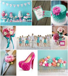 aqua wedding ideas pink via French Wedding Style