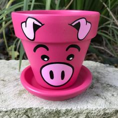 Pig Pot hand painted flower pot *Processing time is weeks. To receive your items faster add the Flower Pot Art, Flower Pot Design, Clay Flower Pots, Flower Pot Crafts, Clay Pots, Flower Pot People, Clay Pot People, Clay Pot Projects, Clay Pot Crafts
