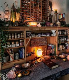 Todays redecorating result🌿🔮🕯 Can you spot the beautiful piece of a huge raw on the bottom left corner? I got it from my Love… Wiccan Decor, Wiccan Altar, Spiritual Decor, Aesthetic Room Decor, Witch Aesthetic, Witch Room, Cabin In The Woods, Tackle Box, Dream Rooms