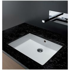 CUBIC under-mount ceramic sink wth overflow from BISSONNET