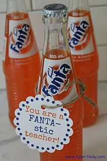 "A ""Fanta""-stic teacher appreciation gift. Easy Teacher Gifts, Teacher Treats, Music Teacher Gifts, Volunteer Appreciation, Teacher Appreciation Week, Volunteer Teacher, Teacher Survival, Survival Kit, Going Away Gifts"