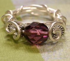 Sterling Silver Wrapped Purple Czech Bead by Abellas on Etsy