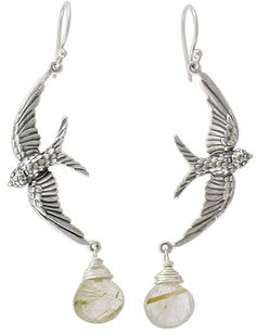 These Silver Bird Pendants have rings at their wing tips so you can hang them horizontally or vertically to make pretty necklaces and earrings. The intricate detail on this bird pendant sets it in motion, catching it in mid-flight dancing on the horizon.