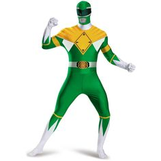 This Mighty Morphin' Power Ranger Green Ranger Bodysuit Costume completely covers you from top to bottom, protecting your identity from evil alien invaders. The brilliant yellow and green colors will draw all eyes to you, making sure you're the focus of any party.