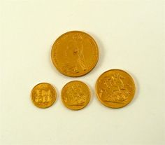 Queen Victoria (1837-1901), Golden Jubilee 1887, currency 'set' of gold coins comprising Five-Pounds, Two-Pounds, Sovereign and Half-Sovereign.