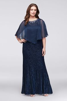 Long Lace Plus Size Mother of Bride Groom Dress with Beaded Capelet - Navy ( fb94762c8d26