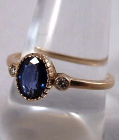 ON HOLD Victorian 14K Gold, Sapphire & Diamond Hand Etched Ring