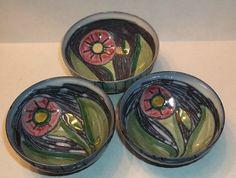 "Three (3) LAHOLM SWEDEN SCANDINAVIAN POTTERY Finger Bowls Saki Cups 2 7/8x1.25"""
