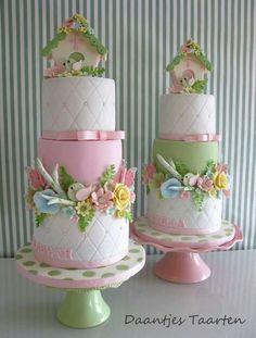 Pastel baptism cakes