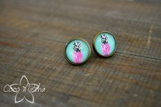 Stud earrings  Ananas boucles d'oreilles  Pineapple by CocoMatcha