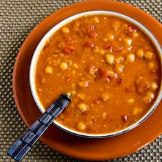 Crockpot recipe for Red Lentil, Chickpea,andTomato Soup with Smoked Paprika