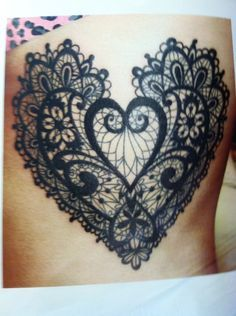 heart lace tattoo design with name - Google Search