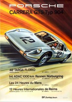 Porsche Carrera GTS Typ 904 1964 - original vintage motorsport poster by Erich Strenger for Porsche Carrera GTS Typ 904 listed on AntikBar.co.uk Porsche Carrera, Winter Olympic Games, Winter Olympics, Le Mans, Reims, Dynamic Design, Racing Motorcycles, Porsche Cars, Show Jumping