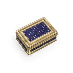PROPERTY FROM THE COLLECTION OF MRS PAUL 'BUNNY' MELLON: A Louis XVI gold and enamel double-opening boite à mouches et à rouge, Paris, 1784, the interior fitted with two mirrors, hinged compartment, and brush. Artificial beauty marks would have been kept in this box.