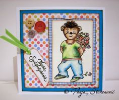 Vanja's Crafty Den / Vanjin kreativni kutak: Teddy with Flowers - free digi stamp at Sunflowerfield Designs! /Meda sa cvecem - besplatan dig...