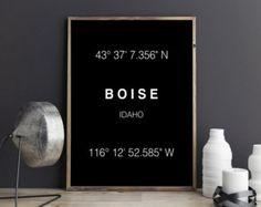 Boise Print, City Coordinates, Art Print, Wall Art, Typograhie, Wall Decor, Home Decor, City print, Printable Art, Digital Download, Gift