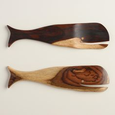 Crafted of Indonesian-grown rosewood with natural grain variations that make each set unique, our exclusive whale-shaped salad servers are a perfect addition to a seafood feast or a coastal kitchen. Coordinate them with any of our salad serving bowls.