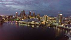 Tampa Convention Center at night, shot by Drone Photographer http://celebrationsoftampabay.com/real-estate-photographers-tampa/