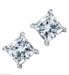 2.00 cts screw backs Princess cut manmade Diamond Stud EARRINGS 14K White GOLD #MFD #Stud