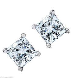 2.00 cts screw backs Princess cut manmade Diamond Stud EARRINGS 14K White GOLD #MFD #Stud