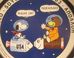 Vintage Snoopy 1974 Snoopy Apollo-Soyuz Space Team Sticker.