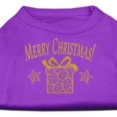 Golden Christmas Present Dog Shirt Purple Med (12)