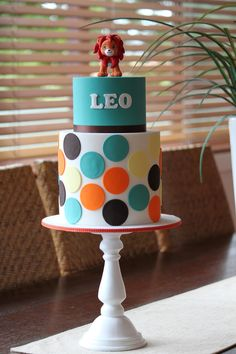 Our last cake for the week was for Leo's combined baptism and 1st birthday. Made to match his super sweet invitation, the cake feat...