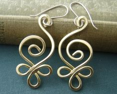 Celtic Budding Spiral Brass Wire Earrings - Celtic Jewelry - Women, Handmade Gift, Dangle Earring, Jewellery: