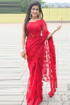 Indian Wedding And Pary Wear Looking Red Designer Sari Mono Net Ethnic Saree Indian Wedding Gowns, Indian Gowns Dresses, Indian Bridal Outfits, Indian Fashion Dresses, Evening Dresses, Net Saree Blouse, Lace Saree, Red Saree, Sarees For Girls