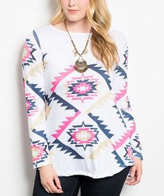 Another great find on #zulily! White & Pink Tribal Hi-Low Top - Plus #zulilyfinds
