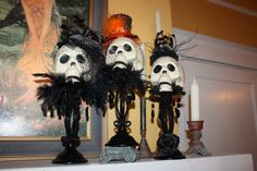 Dollar store skulls,I love these! Great to decoupage them and decorate! Gotta try this gruesome halloween food Halloween Mantel, Halloween Goodies, Halloween Skeletons, Halloween Skull, Diy Halloween Decorations, Halloween House, Halloween 2019, Holidays Halloween, Scary Halloween