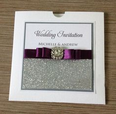 Pocketfold Silver Glitter Wedding Invitations