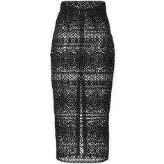 Kalmanovich Lace Pencil Skirt ($419) ❤ liked on Polyvore featuring skirts, lacy skirt, pencil skirt, lace skirt, calf length skirts and high waist knee length pencil skirt