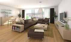 modernes wohnzimmer braunes ledersofa niedriger holz couchtisch ... - Einrichtungsideen Wohnzimmer Braun