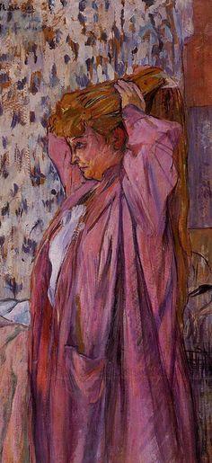 Henri de Toulouse-Lautrec. Lady in Pink.  _apoximação da arte com a sociedade, retrata situaçoes do dia a dia