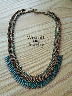 Blue and Antiqued Bronze Fringe Necklace by WescottJewelry on Etsy