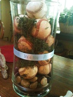 Baseball themed baby shower- Love that it's full of dirt and grass for a baby boy!