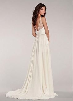 Charming Chiffon & Lace V-neck Neckline Natural Waistline A-line Wedding Dress