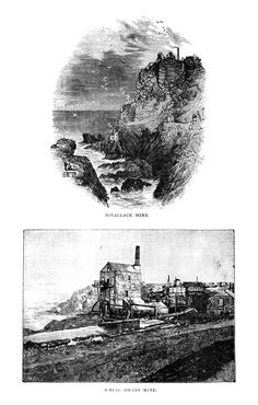 """BOTALLACK MINES   Cornwall: 'West Wheal Owles is the one re-named """"Wheal Leisure"""" in the 2015 """"Poldark"""" TV series. The top etching is by T.J. Blight.'     ✫ღ⊰n"""