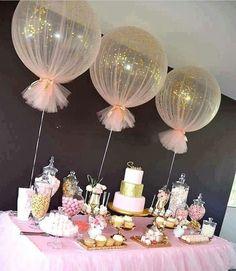 3ft Riesenballons v. Qualatex, mit Helium,Chiffon,Tüll,HiFloat  und Goldkonfetti
