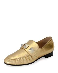 VALENTINO ROCKSTUD METALLIC LEATHER LOAFER, GOLD. #valentino #shoes #flats