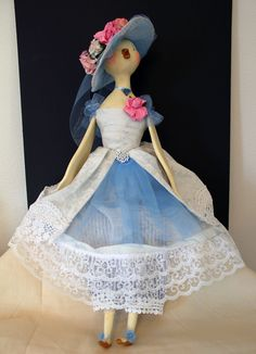 Paper clay sculpted bird-doll with vintage costuming.  Created at Artful Gathering through on-line class with Colleen Moody.