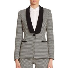 Boutique Moschino Houndstooth Tuxedo Jacket ($1,250) ❤ liked on Polyvore featuring outerwear, jackets, blazers, apparel & accessories, pattern jacket, tuxedo jacket, tux jacket, print jacket and black dinner jacket