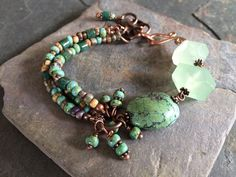 Gemstone Bracelet, Turquoise, Agate, Czech Glass Beads and Copper Bracelet