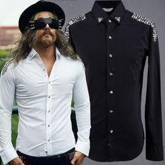ByTheR-Unique-Urban-Chic-Mens-Custom-Unique-Stud-epaulette-Accessory-Shirts-CA
