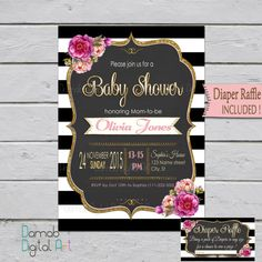 Baby Shower invitation girl Girl Baby Shower Pink by DamabDigital