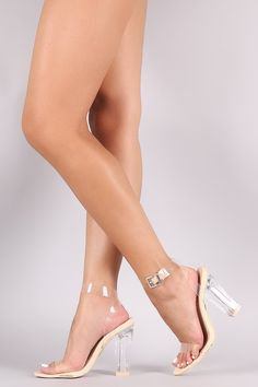 Clear Lucite Ankle Strap Open Toe Chunky Heel