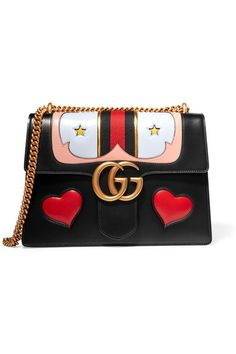 Gucci | GG Marmont medium appliquéd leather shoulder bag | NET-A-PORTER.COM