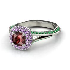 """Ariel, Engraving: """"Part of your world..."""" Cushion Red Garnet 14K White Gold Ring with Amethyst & Emerald"""