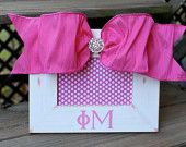 Sorority picture frame with bow-Phi Mu: Need to Make this!